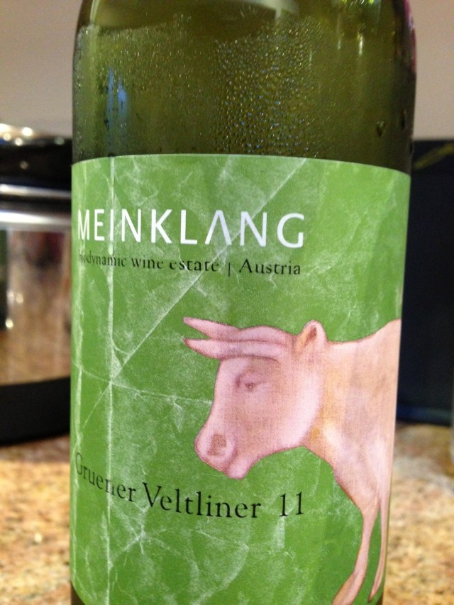 The rather delicious cold, crisp Meinklang Gruener Veltliner!