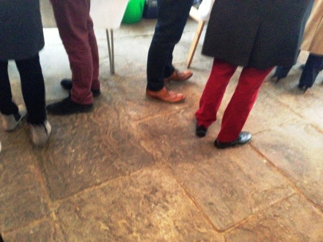 Chaps in red trousers - it's a wine thing.