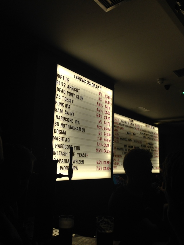 Brewdog's massive list of beers (and some dude's head. Sorry.)